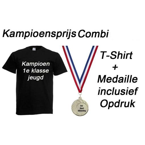 Kampioensprijs Combi T-Shirt en Medaille incl opdruk en gravering